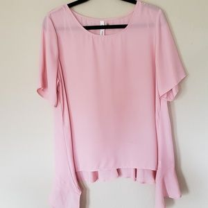 Pastel Pink Sheer Flowy Short Sleeve Blouse